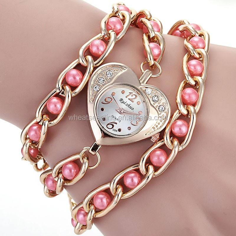 heart shape dial stainless steel with pearl sexy lady diy geneva watches