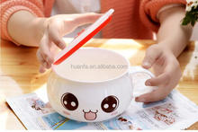 Taobao hot !Small white ceramic bowl cute instant noodle bowl with Custom expressions