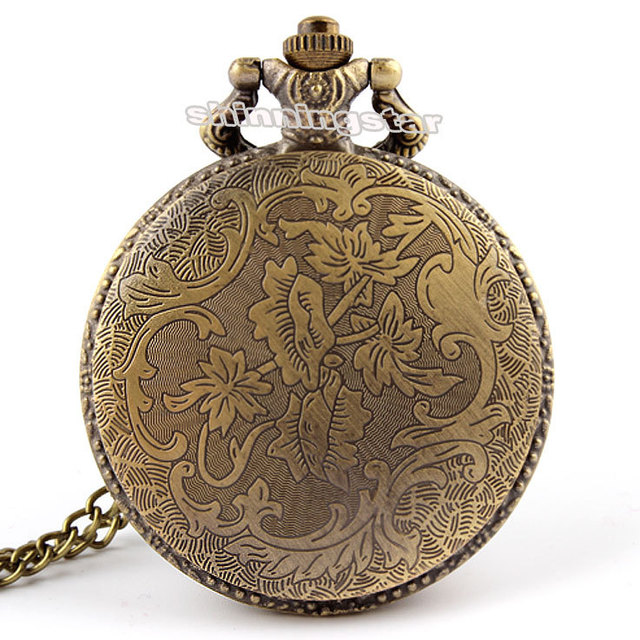 Unique Bronze Fire Fighter Control Quartz Pocket Watch Necklace Pendant  relogio de bo