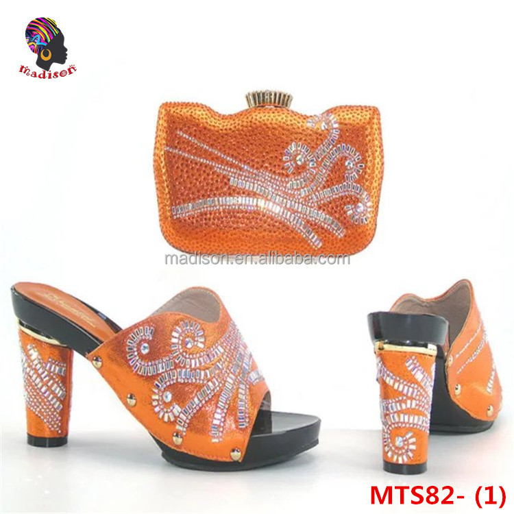 Gzmadison African lady leather high grade party pretty women's Italian shoe and bag matching sets with stones/MTS82-1