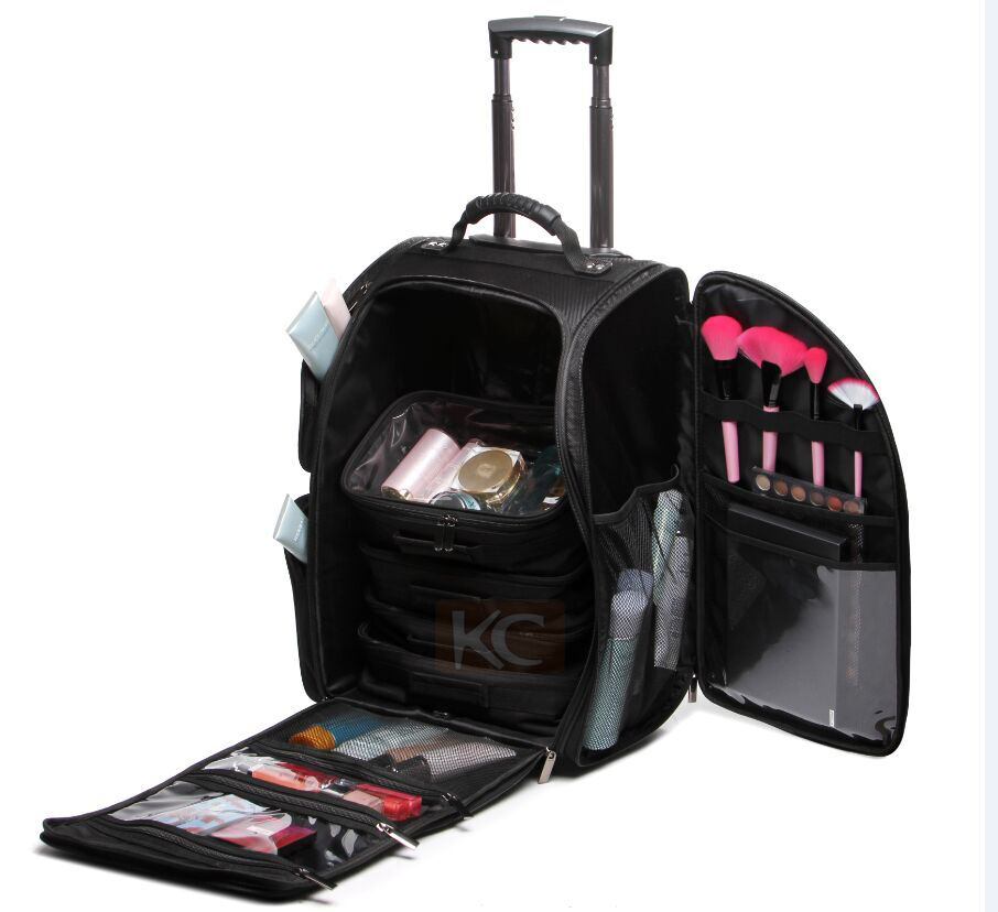 Black high quality 1680D professional travel nylon trolley case 2 wheel, trolley makeup train case