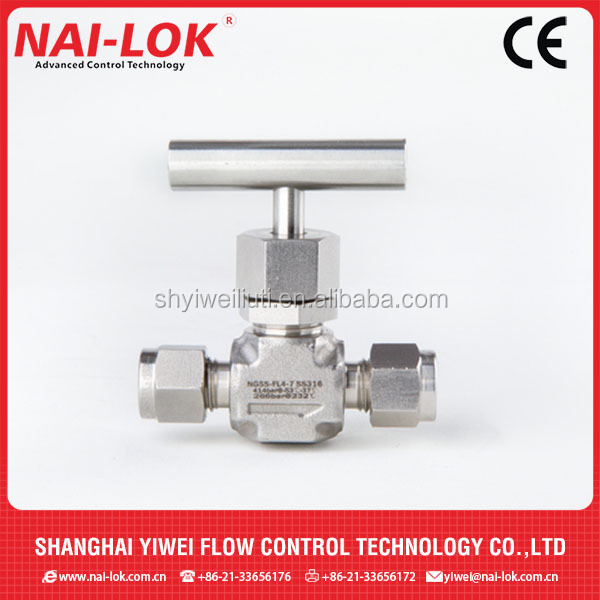 high pressure stainless steel needle valve/swagelok type straight needle valve