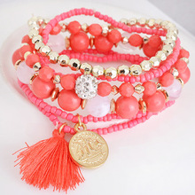 European Style Magnetic Handmade Multi Layer Women Bead Bracelet With Coin