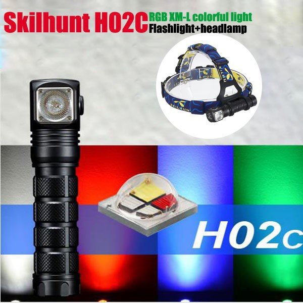 Skilhunt H02C RGB RED/Blue/Green/White colorful light LED Rechargeable Hunting Flashlight with Headband
