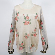 ZH0438A Best-selling flower printed ladies pullover beautiful high quality sweater