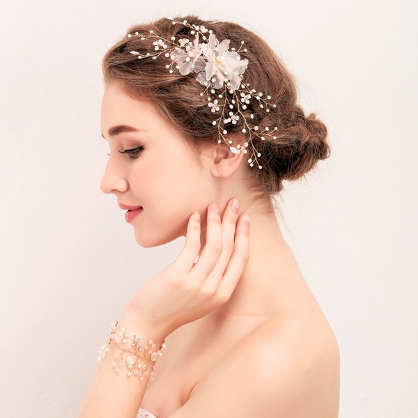 Handmade 2017 Frosted Floral Jewels With Rhinestone Bridal Hair Clip Wedding