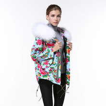 2016 China design fashion white raccoon fur collar coats spring style women hooded jacket