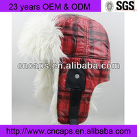 Fashion Checked Warm Snow Cap Faux Fox Fur Winter Hat