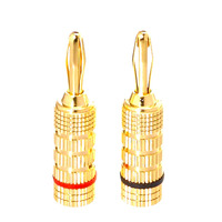 High quality banana plugs promotion at lowest price stock clear, brass copper gold plated banana plug for 12awg 14awg 16awg 18aw