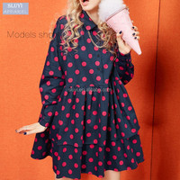 custom sweetheart style women shirt dresses polka dot pattern flouncing turn down collar long sleeve long shirt dress for women