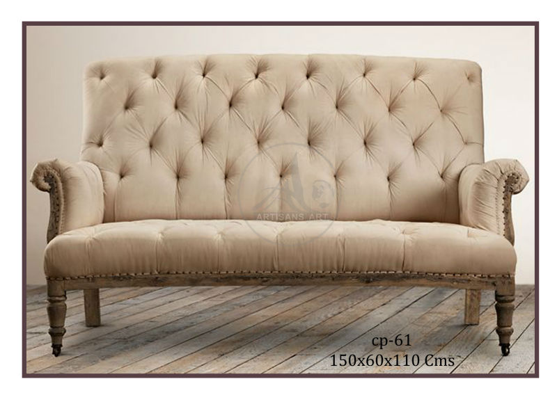 Three Seater Vintage Canvas Upholstery Day Bed Sofa Seating, Industrial Living Room Furniture, Wooden Chesterfield Sofa Chair