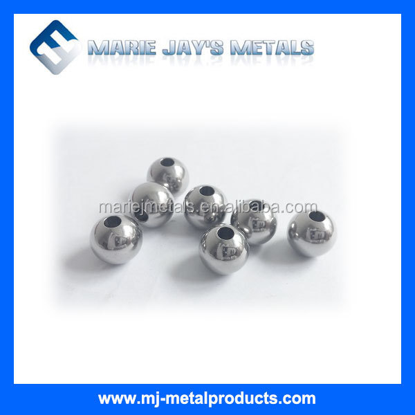 Stainless steel ball with drilled hole