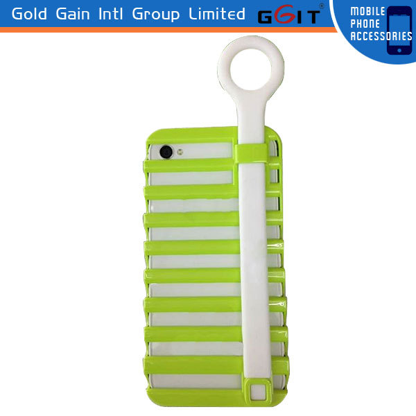 Pull Ring Ladder Phone Holder Silicon+PC Case For iPhone 5, For iPhone 5 Silicon Case With Ladder Phone Holder
