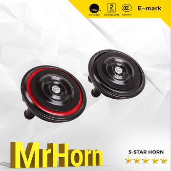 MrHorn Klaxon Horn Red and Black Disc horn with Lound horn for Car