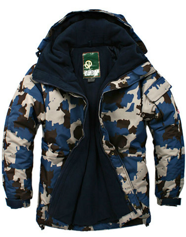 "Southplay"" Winter Waterproof Ski-Snowboard Jacket, Pants - Blue Camo"