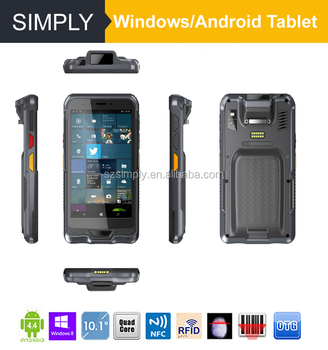 Simply T6 6inch IP67 4G LTE Windows10/Android5.1 1D 2D NFC reader Qualcomm 8909/intel Z8350 for quad-core pda