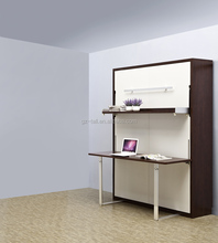 Wooden Murphy Hidden Wall Bed With Table And Shelf By SGS Certificate