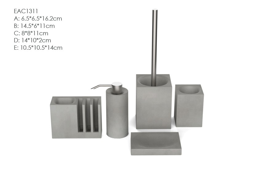 Simple design cement bathroom set and accessories
