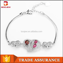 2015 hot new products fashionable jewelry heart and trefoil shape ladies 925 silver bangle
