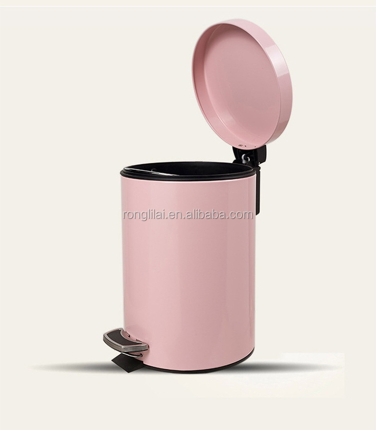Pink pedal trash bin, soft color foot pedal sanitary bins