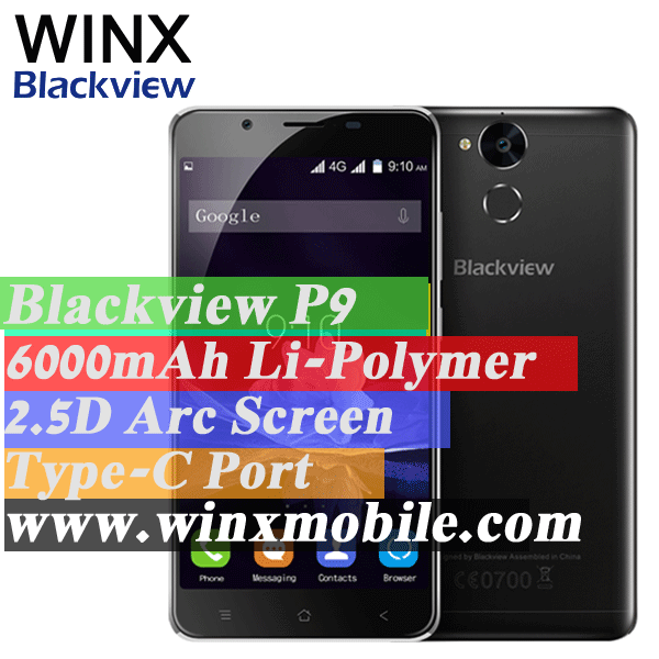 "Original Blackview p2 black/blue/gold/gray 5.5"" Android 6.0 4/64Gb 13/8MP long lasting 6000mAh 4g mobile phones price list"