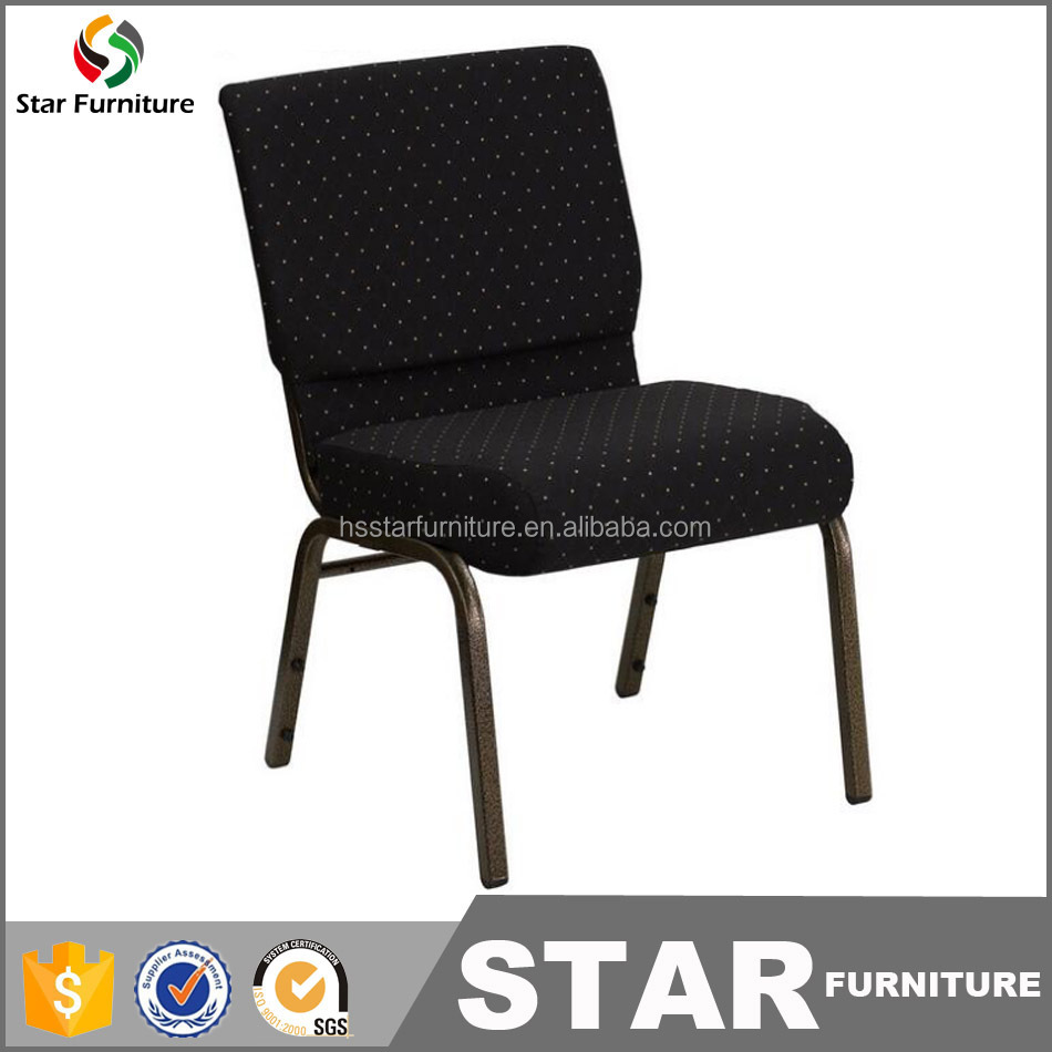 2016 cheap price metal padded stackable church chair for auditorium threading