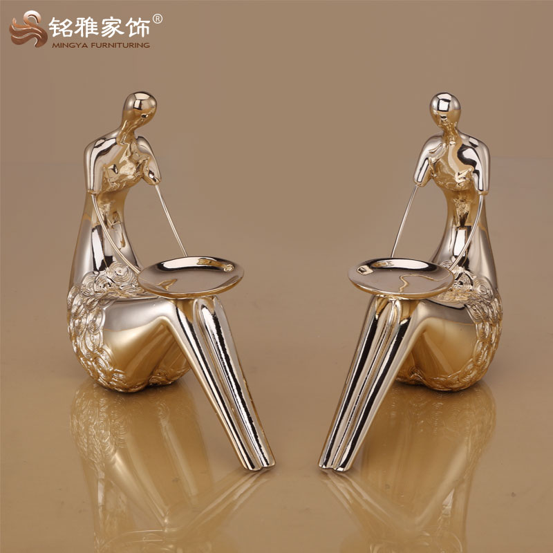 decorative modern craft sitting human figure tea light candle holder