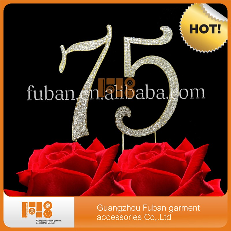 Gold Rhinestone NUMBER (75) Cake Topper 75th Birthday wedding anniversary cakes