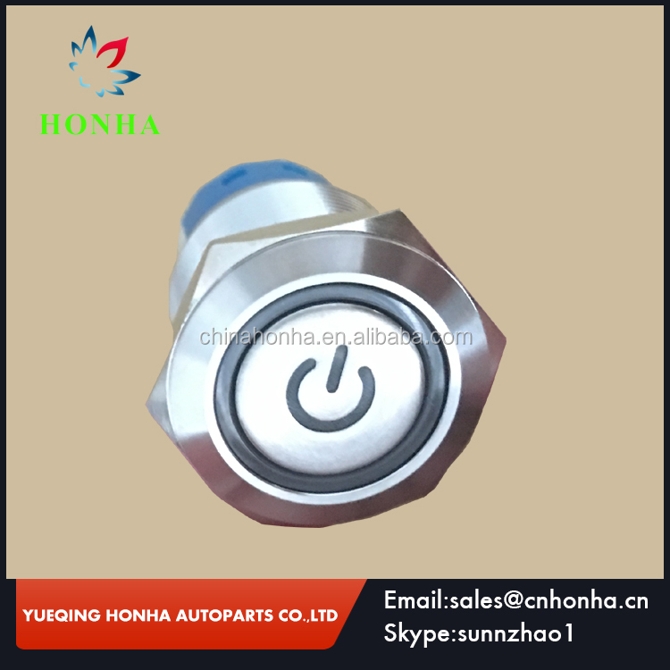 19mm led type illuminated momentary waterproof stainless steel metal push button switch