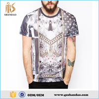 2016 summer fashion 180g 65%cotton 35polyester short sleeve O-neck custom man all over sublimation printing t-shirt