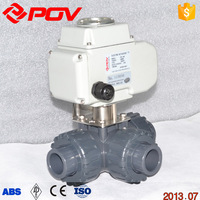 3 way UPVC union connection electric ball valve