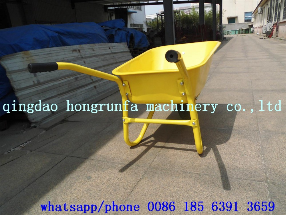 yellow metal single wheel building barrow wb5009