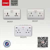 British Type wall mount light switch box solar charger with ac wall socket