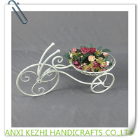 KZ160047 Ancient Wrought Iron Bicycle Flower Basket Plant Stand