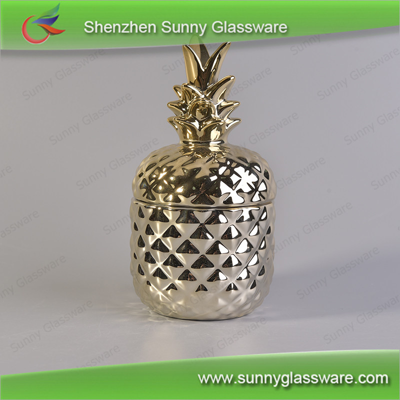 Best selling products 2017 gold pineapple ceramic candle jar wholesale