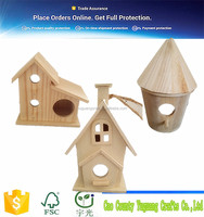 Competitive price New unfinished wooden bird house 2016