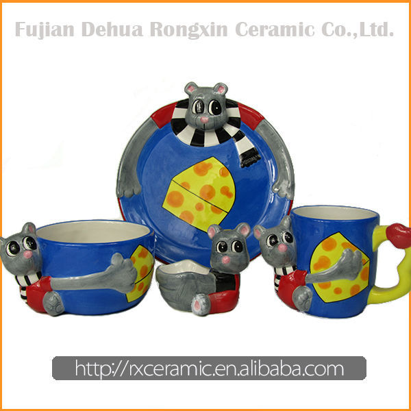 Factory Direct Sales Ceramic Cartoon Aninmal rice husk tableware