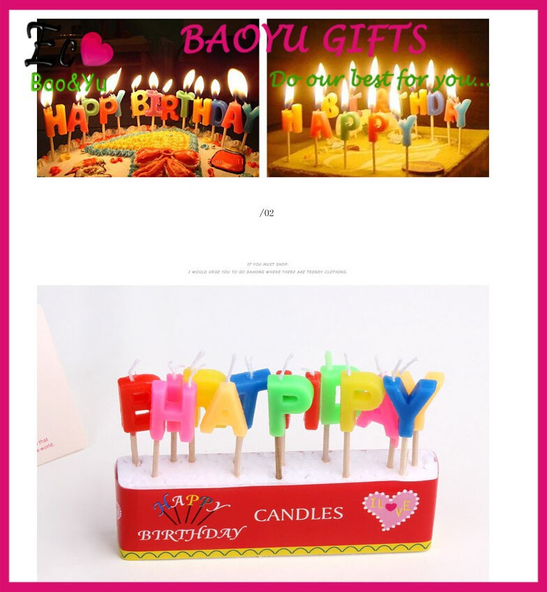 Hot sale HAPPY Birthday cake candle letters Wholesale