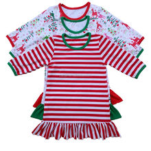 wholesale cute baby girl christmas long sleeve with hem pajama dress fit o-6 years