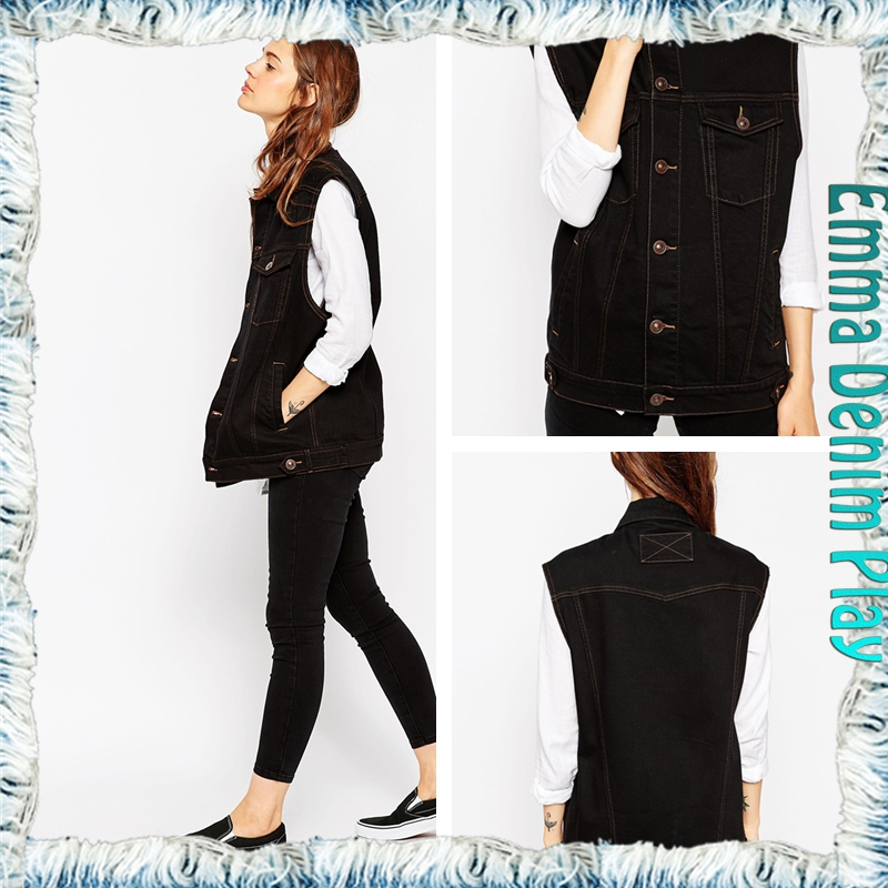 2015 New Denim Woman Clothes Vest Copper Rivet Sleeveless Cotton Female Spring Outwear