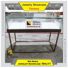 Fashional type Glass counter top stainless steel jewelry display cabinet