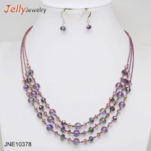 5 color Faced Beads Triple Layered Necklace sets