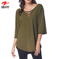 Women's Tunic Top Casual Chiffon Blouse Cross V Neck T-Shirt Cuffed Long Sleeve