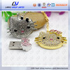 custom cat shape jewelry usb flash drive crystal usb stick wholesale 1 dollar usb flash drive