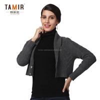 Fashion Women Cashmere Knitted Shrug, Special Grey Long Sleeve Knitted Shrug