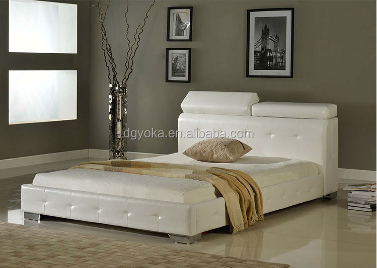 C1 upholstery modern bedroom furniture faux PVC leather functional bed with wooden slats