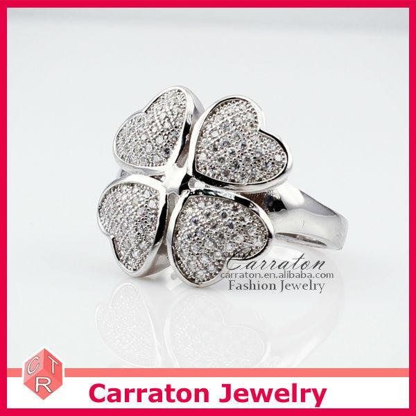 Sterling Silver Big Four Leaf Clover Shaped 2014 Fashion Ring