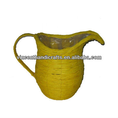 Country yellow woven sisal cup flower pot with liner and handle milk can planter