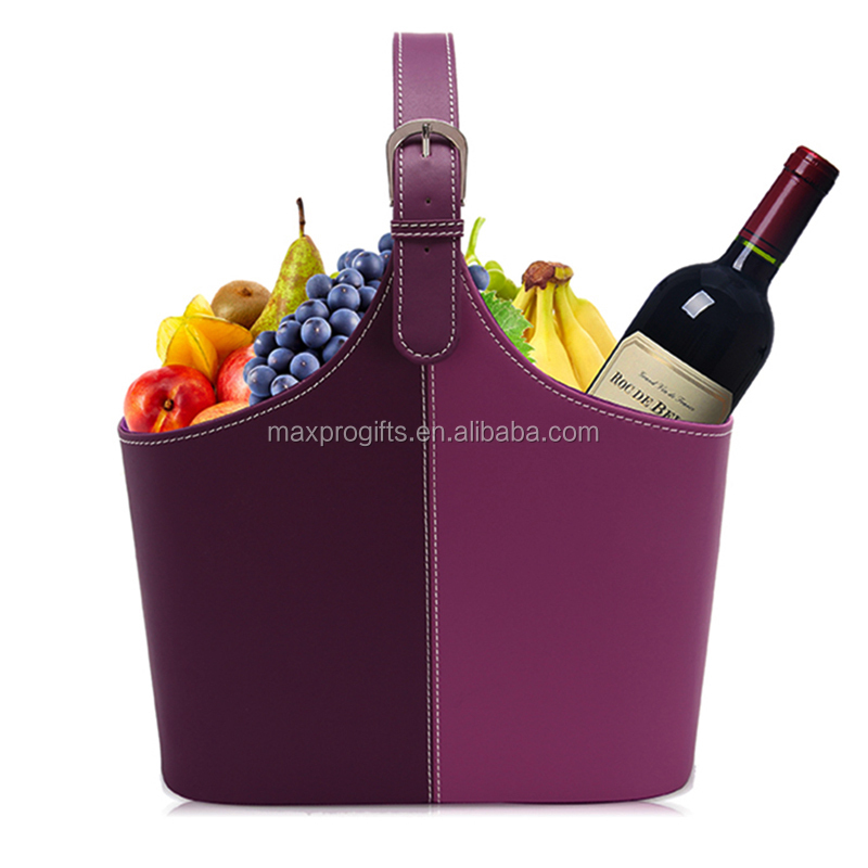 Factory stocked wholesale chinese red/dark red purple pu gifts food/fruits hamper basket