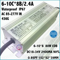 2 Pcs PFC AC85-277V 80W COB Spotlight LED Driver 6-10Cx8B 2.4A DC18-34V LED Power Constant Current IP67 Waterproof Free Shipping